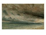 The Coast at Brighton - Stormy Evening  C1828 (Oil on Paper Laid on Canvas)