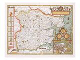 Essex  Engraved by Jodocus Hondius (1563-1612) from John Speed's Theatre of the Empire