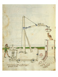 Design for a Crane for Use in Construction of a Tower  Illustration from &#39;De Machinis&#39;