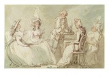 A Tea Party (Pen and Ink  Pencil and W/C on Paper Laid on Mount) (Recto of 238964)
