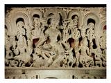 Lintel Featuring Hindu Trinity  from Waranal  Andhra Pradesh  Kakatiya Dynasty (Stone)