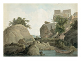 Fakir's Rock at Sultanganj  on the River Ganges  India  C1790 (W/C over Graphite on Paper)