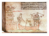 Ms 16 Roll 178 the Siege of Damietta from the Sea  from the 'Historia Major'  C1219 (Vellum)