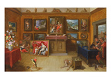 Picture Gallery with a Man of Science Making Measurements on a Globe  1612 (Oil on Panel)