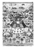 View of Mexico City from 'Rhetorica Christiana'  by Didacus (Diego) Valades  Printed in 1579