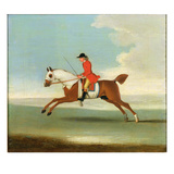 Galloping Racehorse and Mounted Jockey in Red (Oil on Canvas)