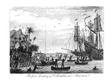 The First Landing of Columbus at America (Engraving) (B&W Photo)