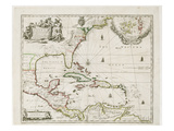A New Map of the English Plantations in America  1673 (Coloured Engraving)
