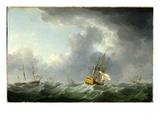 English Ships Running before a Gale (Oil on Canvas)