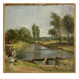 Flatford Lock  1810-11 (Oil on Paper on Canvas)