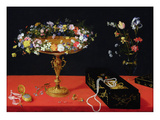 A Still Life of a Tazza with Flowers (Oil on Panel)