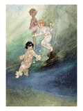 Untitled Watercolour  Children Underwater with an Elf
