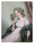 A Lady Holding a Negro Mask  C1795-80 (Pastel on Wove Paper  Laid on Canvas)