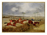 A Steeplechase  Near the Finish (Oil on Canvas)