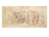 Study of Figures for a Narrative Scene (Charcoal on Paper) (Recto)