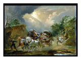 Coach in a Thunderstorm  1790S (Oil on Millboard)