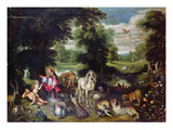 Adam and Eve with God in the Garden of Eden and the Story of the Fall (Oil on Panel)