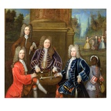 Elihu Yale (1648-1721) the Second Duke of Devonshire  Lord James Cavendish  Mr Tunstal and a Page
