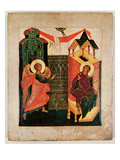 Icon Depicting the Annunciation  Novgorod School (Oil on Panel)