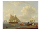 A Wherry Taking Passengers Out to Two Anchored Packets  1825 (Oil on Panel)