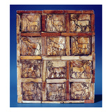 Gaming Board Depicting Animals of the Field and Forest  from Iraq  C2500 BC (Wood)