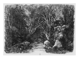 The Stream Through the Trees  1880 (Etching)