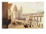 Plaza Mayor De Guonajuato (Coloured Engraving)