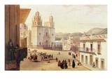 Plaza Mayor De Guonajuato (Coloured Engraving)