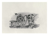 Two Men with a Barrel Cart (Wood Engraving)