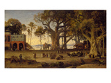 Moonlit Scene of Indian Figures and Elephants Among Banyan Trees  Upper India (Probably Lucknow)