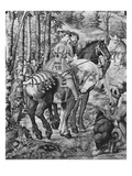 The Hunts of Maximilian  Leo  the Stag Hunt  the Report  Gobelins Factory (Tapestry) (B/W Photo)