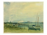 Coast Scene with White Cliffs and Boats on Shore (W/C and Graphite on Paper)