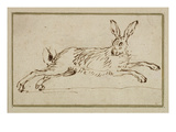 A Hare Running  with Ears Pricked (Pen and Ink on Paper)
