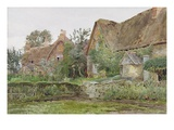 Thatched Cottages and Cottage Gardens  1881 (W/C and Graphite on Paper)