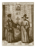 Matteo Ricci (1552-1610) and Paulus Li  from &#39;China Illustrated&#39; by Athanasius Kircher (1601-80)