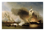 An Action Off the Barbary Coast with Galleys and English Ships  C1695 (Oil on Canvas)