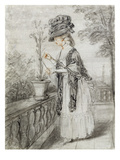 Lady on a Terrace Tending a Carnation Plant (Black  Red and White Chalk on Paper)