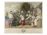 A Dance in the Island of St Dominica (Colour Engraving)