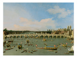 Westminster Bridge  London  with the Lord Mayor's Procession on the Thames (Oil on Canvas)