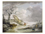 Winter Landscape with Men Snowballing an Old Woman  1790