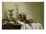 Still Life with Oysters and Nuts  1637 (Oil on Panel)
