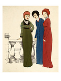 Three Ladies in Dresses (Colour Lithograph)