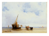 Beached Vessels and a Wagon Near Trouville  c1825