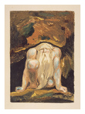 A Naked Man with a Long Beard Kneeling with One Knee Raised and Both Hands on the Ground