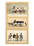A Dame Blanche Carriage  an Omnibus and Drivers  1815-30 (Gouache on Paper)
