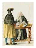 A Magistrate Playing Cards with a Masked Man (W/C on Paper)