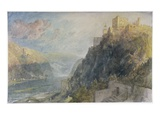 Rheinfels Looking to Katz and Gourhausen  1817 (W/C and Gouache on Paper)
