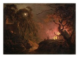 A Cottage on Fire at Night  c1785-93
