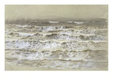 Study of Waves (Grey and Brown Wash  Gouache and Graphite on Paper)