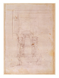 Preparatory Drawing for the Tomb of Pope Julius Ii (1453-1513) (Charcoal on Paper) (Verso)